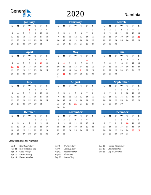 Image of 2020 Calendar - Namibia with Holidays
