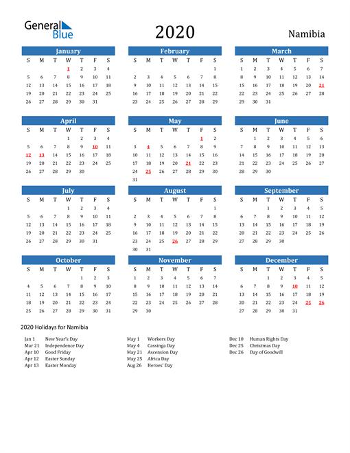 Namibia 2020 Calendar with Holidays