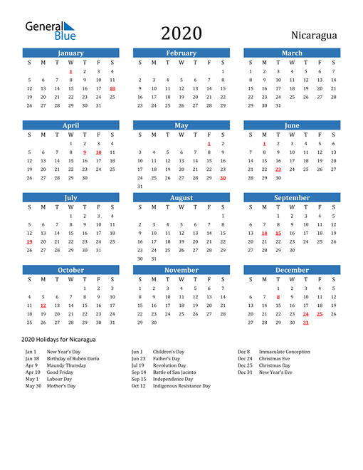 Nicaragua 2020 Calendar with Holidays