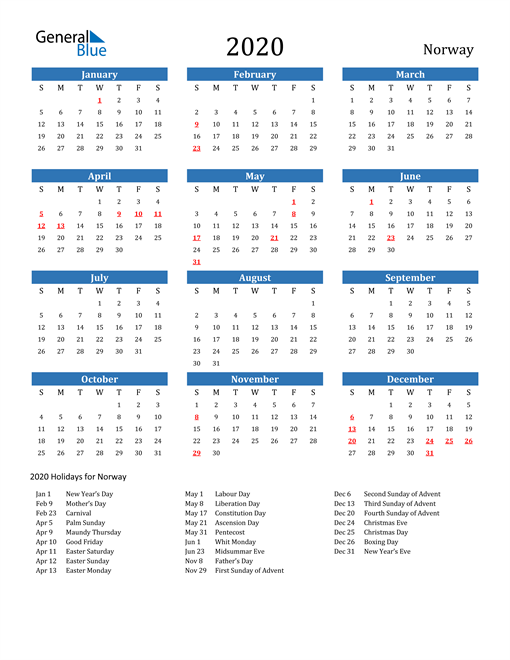 2020 Calendar - Norway with Holidays