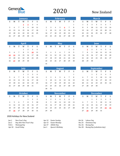 Image of 2020 Calendar - New Zealand with Holidays