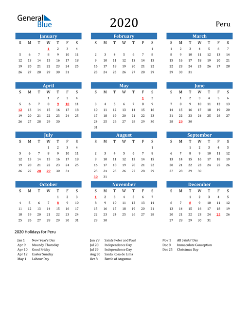 Image of 2020 Calendar - Peru with Holidays