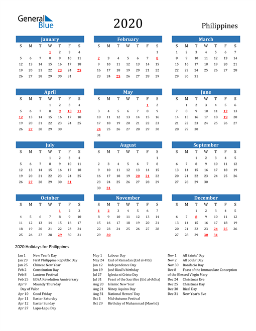 Image of 2020 Calendar - Philippines with Holidays