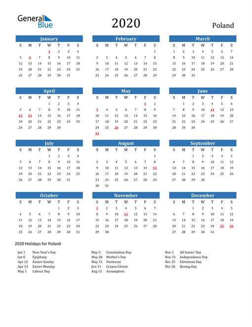 Image of 2020 Calendar - Poland with Holidays