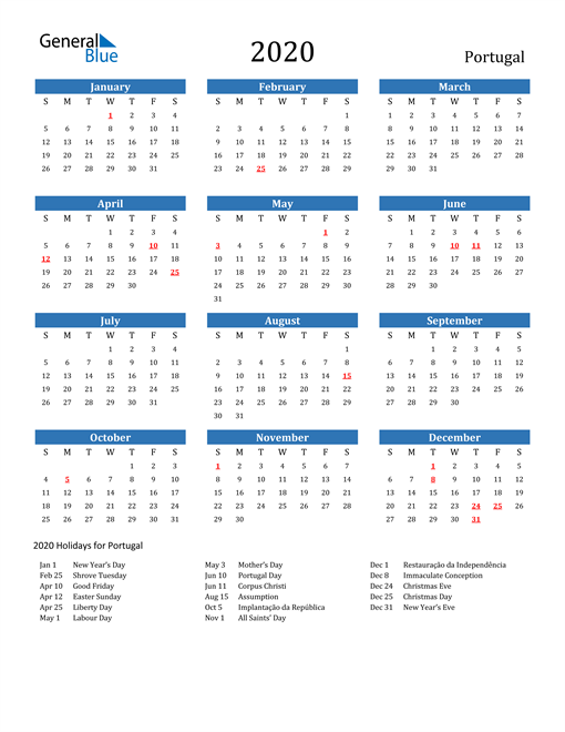 Image of 2020 Calendar - Portugal with Holidays