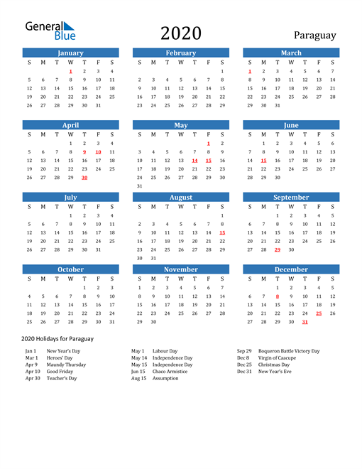 Image of 2020 Calendar - Paraguay with Holidays