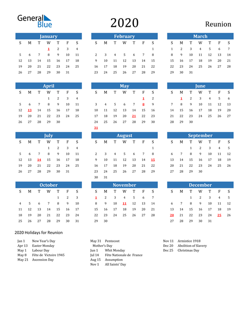 Image of Reunion 2020 Calendar with Holidays