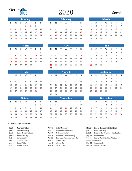 Image of 2020 Calendar - Serbia with Holidays