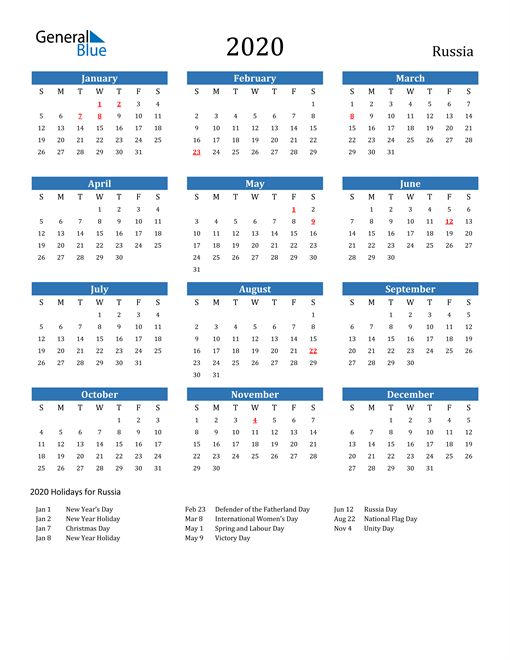 Image of 2020 Calendar - Russia with Holidays