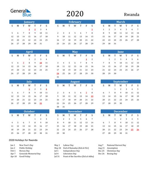 Image of 2020 Calendar - Rwanda with Holidays