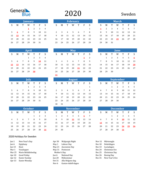 Image of Sweden 2020 Calendar with Holidays