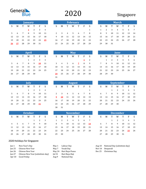Image of 2020 Calendar - Singapore with Holidays