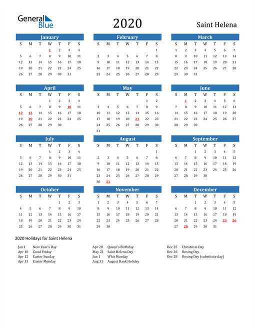 Image of Saint Helena 2020 Calendar with Holidays