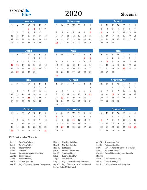 Image of 2020 Calendar - Slovenia with Holidays