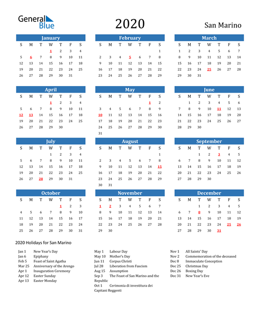 Image of 2020 Calendar - San Marino with Holidays