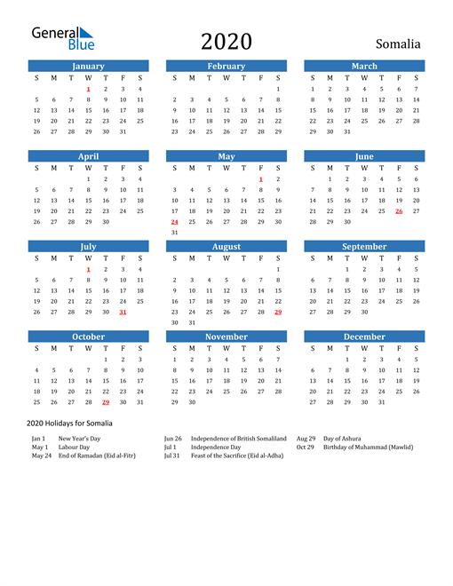 Image of 2020 Calendar - Somalia with Holidays