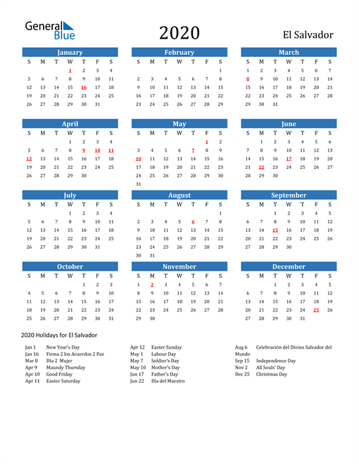 Image of 2020 Calendar - El Salvador with Holidays