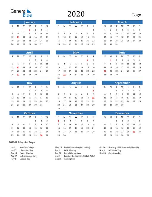 Togo 2020 Calendar with Holidays