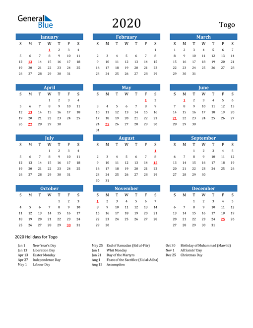 Image of 2020 Calendar - Togo with Holidays