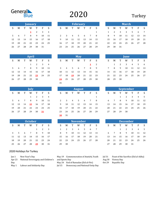 Image of 2020 Calendar - Turkey with Holidays