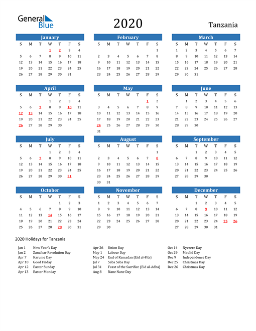 Image of 2020 Calendar - Tanzania with Holidays