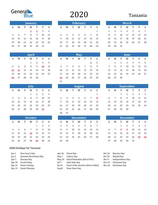 Tanzania 2020 Calendar with Holidays