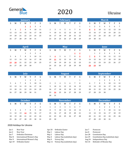 Image of 2020 Calendar - Ukraine with Holidays