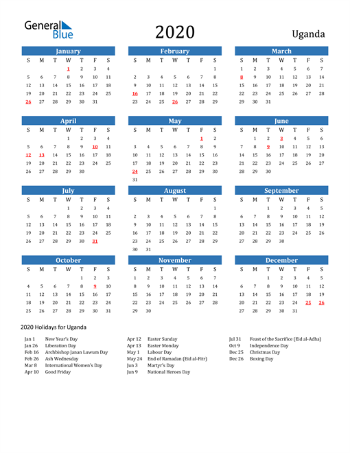 Image of 2020 Calendar - Uganda with Holidays