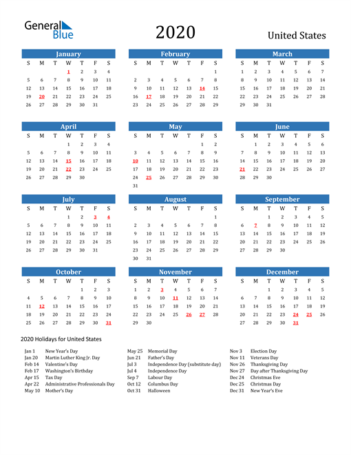 Image of 2020 Calendar - United States with Holidays