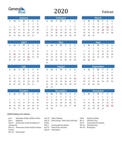 Image of 2020 Calendar - Vatican with Holidays