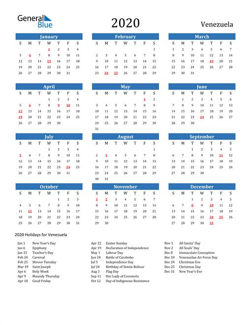 Image of 2020 Calendar - Venezuela with Holidays