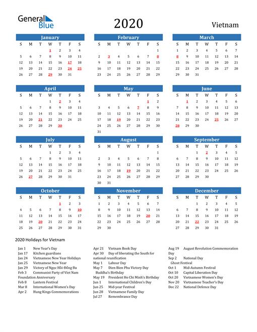 Image of 2020 Calendar - Vietnam with Holidays