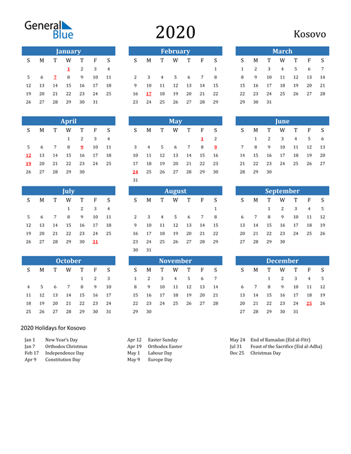 Image of Kosovo 2020 Calendar with Holidays