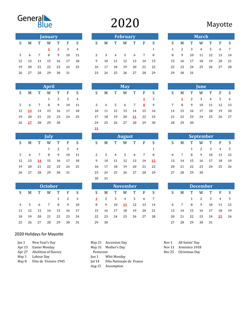 Image of 2020 Calendar - Mayotte with Holidays