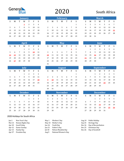Image of 2020 Calendar - South Africa with Holidays