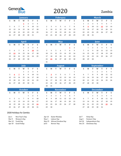 Image of 2020 Calendar - Zambia with Holidays