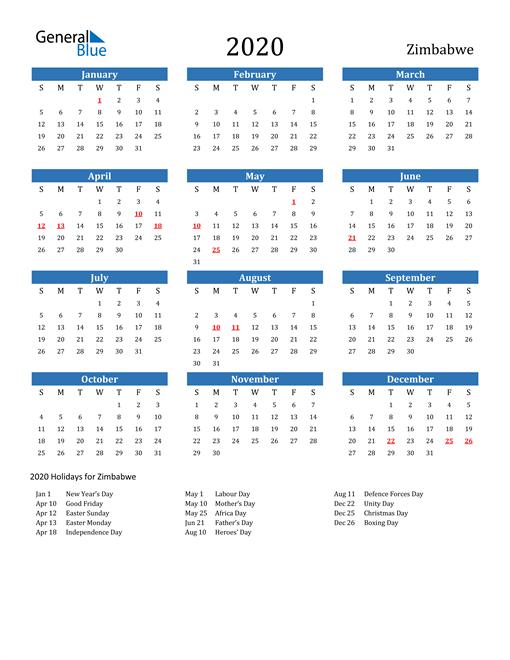 Image of 2020 Calendar - Zimbabwe with Holidays