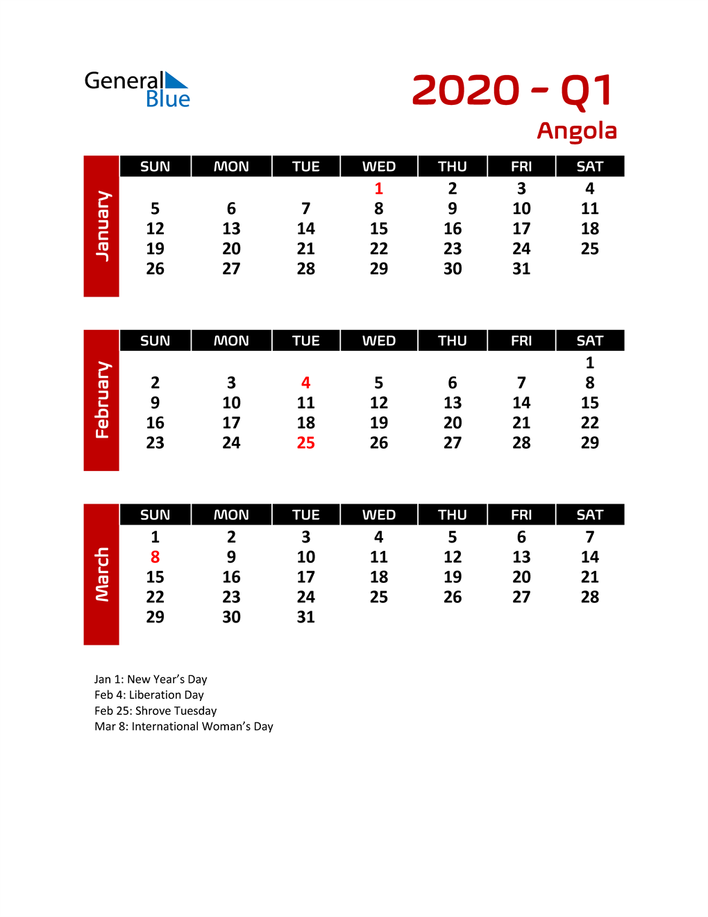 Q1 2020 Calendar with Holidays