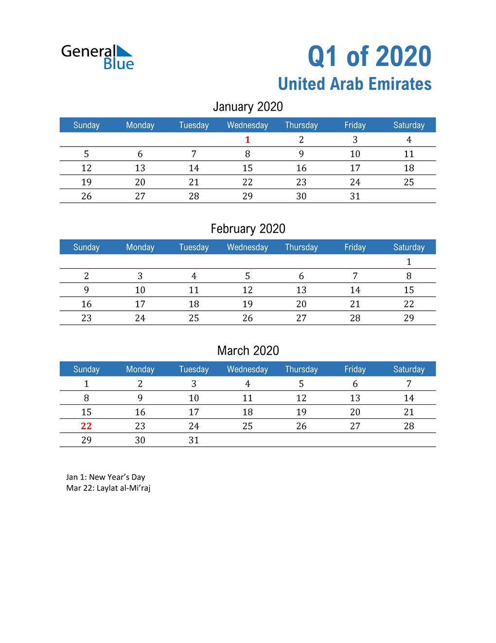 United Arab Emirates 2020 Quarterly Calendar