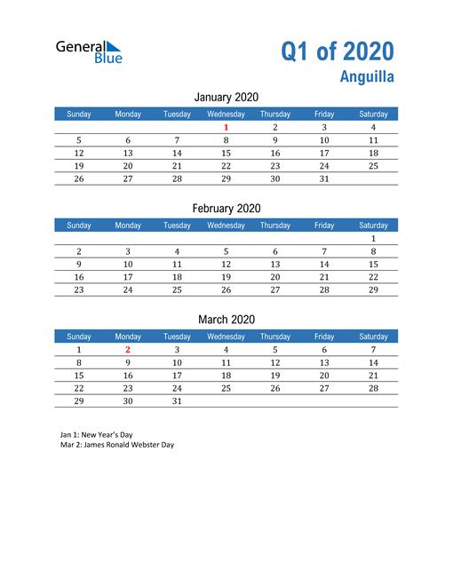 Anguilla 2020 Quarterly Calendar
