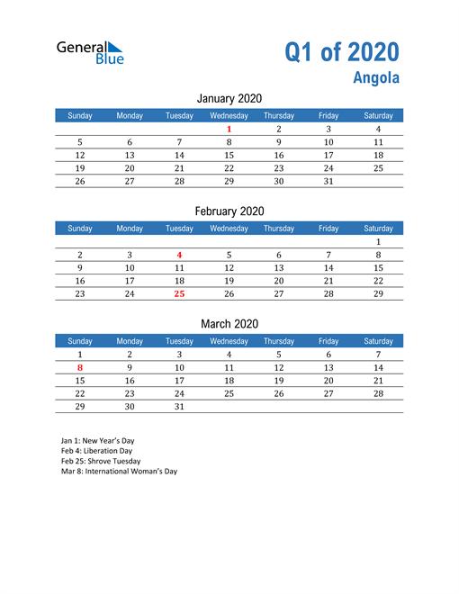 Angola 2020 Quarterly Calendar