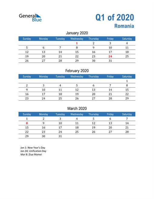 Romania 2020 Quarterly Calendar