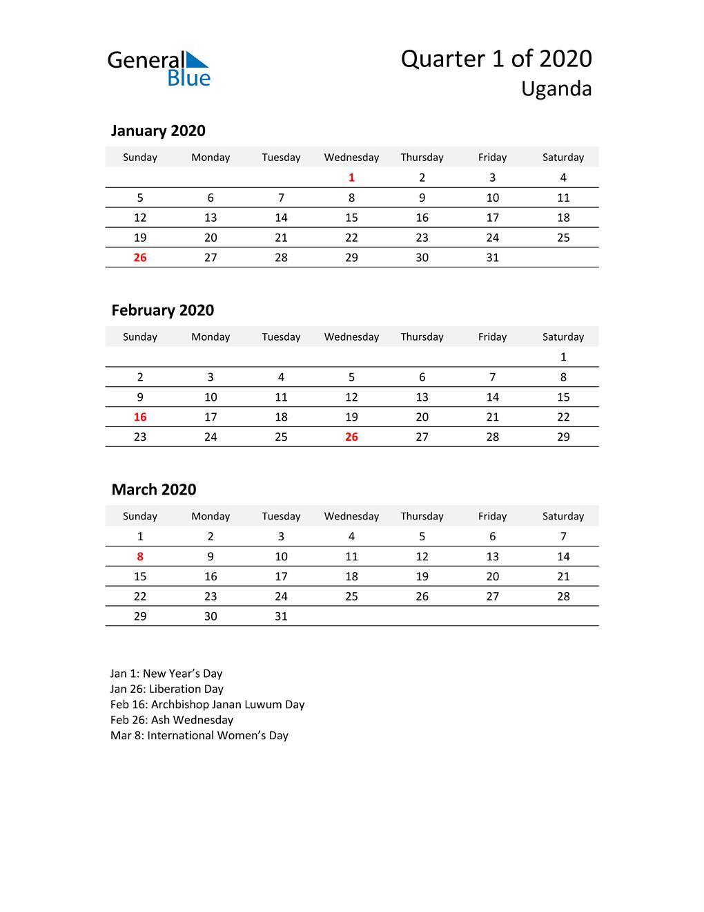 2020 Three-Month Calendar for Uganda