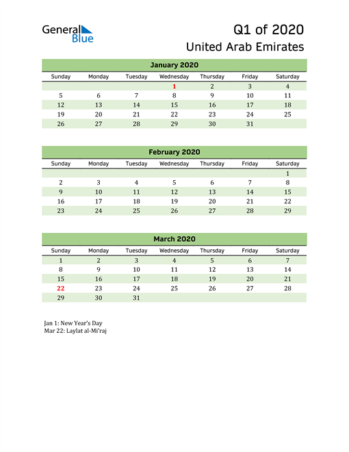 Quarterly Calendar 2020 with United Arab Emirates Holidays