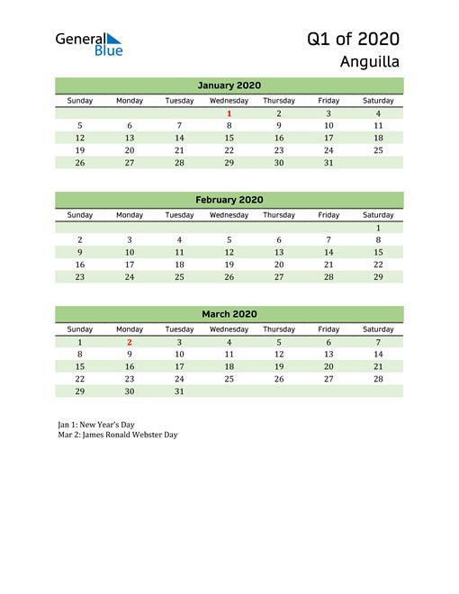 Quarterly Calendar 2020 with Anguilla Holidays