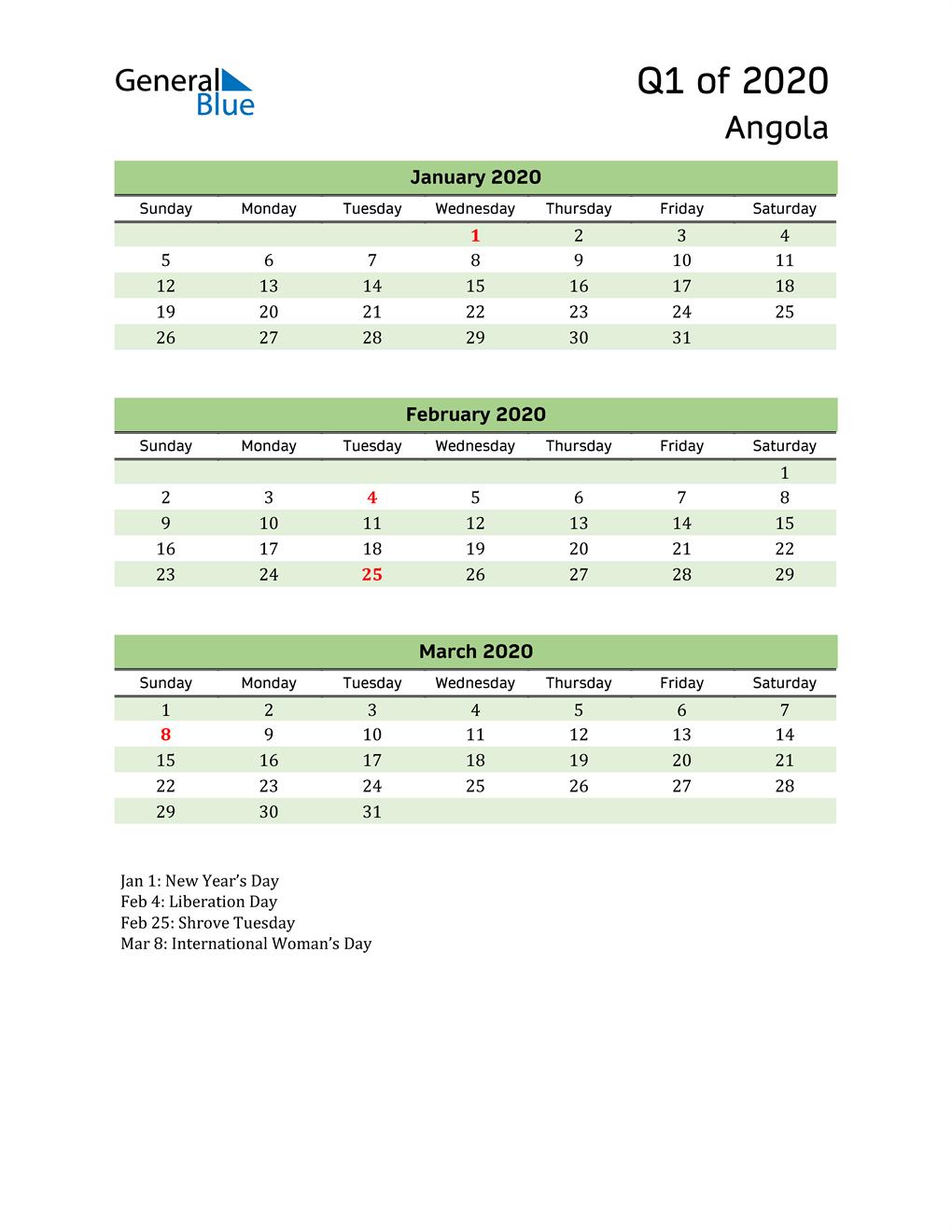 Quarterly Calendar 2020 with Angola Holidays