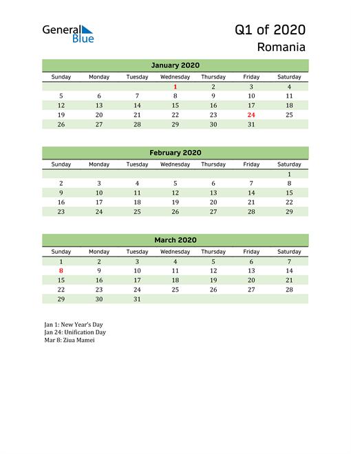 Quarterly Calendar 2020 with Romania Holidays
