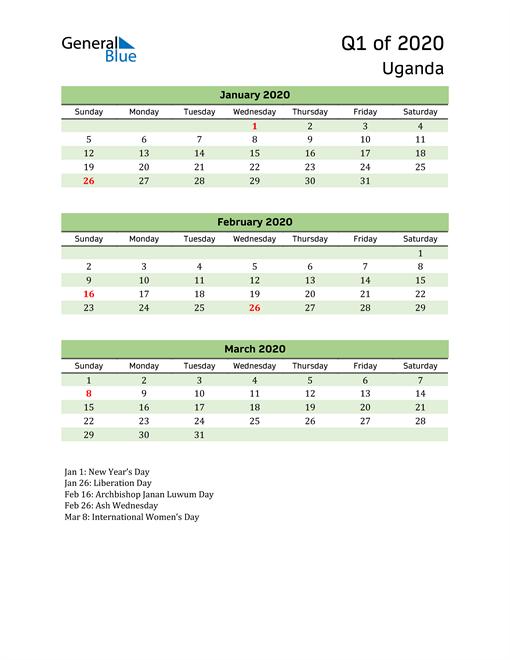 Quarterly Calendar 2020 with Uganda Holidays