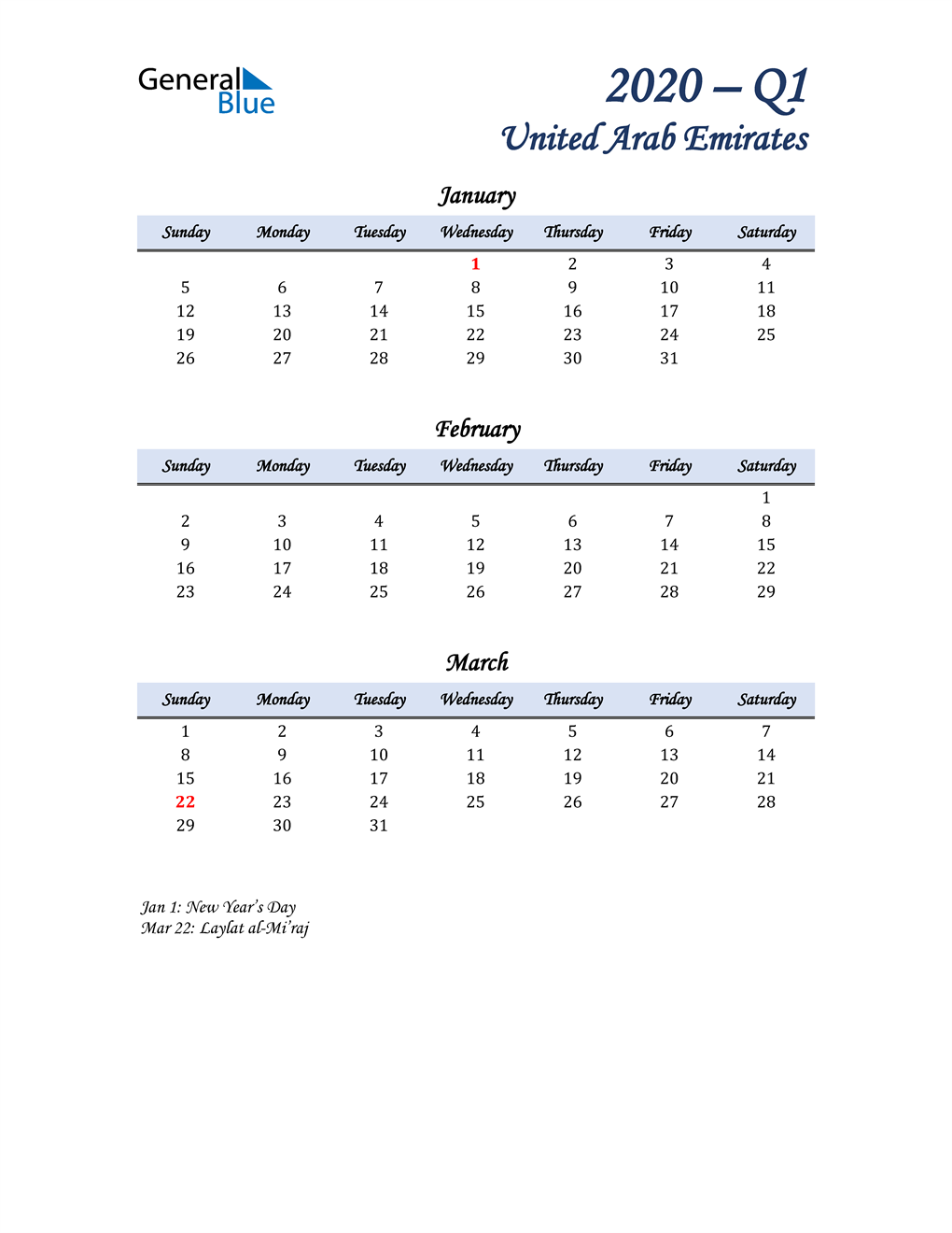 January, February, and March Calendar for United Arab Emirates