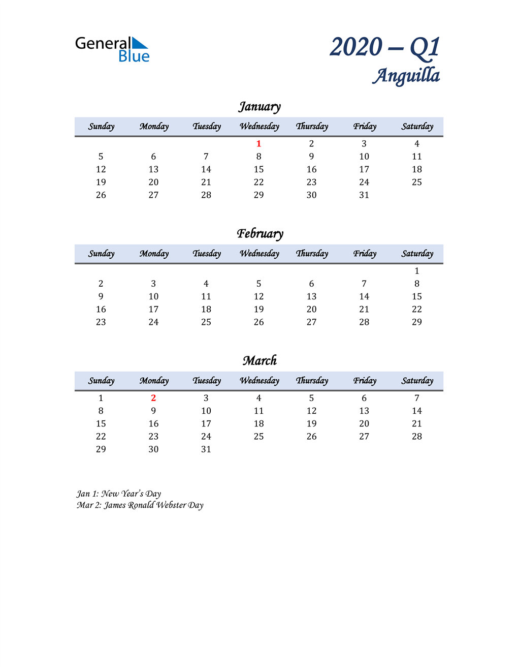 January, February, and March Calendar for Anguilla
